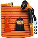 YOJULY 100ft Expandable Leakproof Lightweight Expanding Garden Water Hose 3-Layers Latex,Best Choice for Watering and Washing