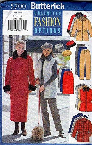 Butterick 5700 1998 - Patrón de costura para chaqueta de mujer y pequeña, pantalones, chaleco, falda y sombrero, talla 36, 40