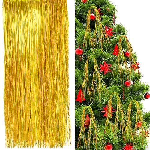 3000 Stränge Eiszapfen Lametta Weihnachtsbaum Folie Fransen Stränge Winter Zuhause Dekoration für Weihnachten Party Geburtstag Hochzeit (Gold)