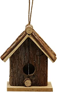 winemana Wooden Outside Hanging Bird House for Small Bird Nature Ventilatio (Brown)