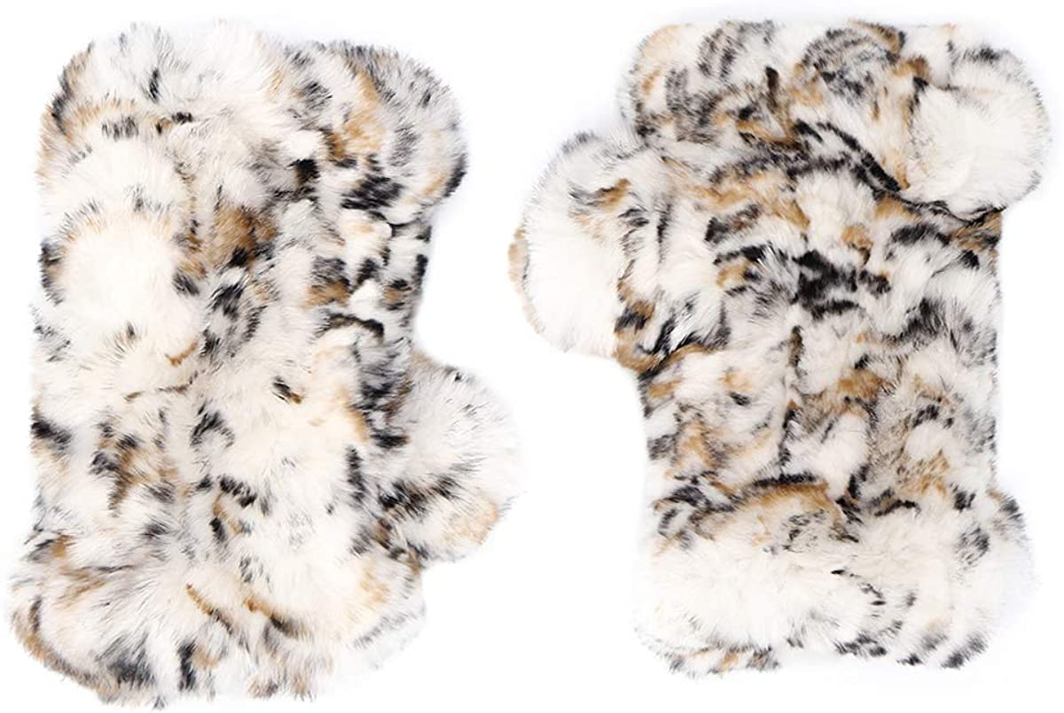 surell Sheared Rabbit Textile Knit Fingerless Glove - Winter Texting Mittens - Luxury Cold Weather Clothing (Snow Leopard)