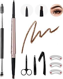 8Pcs Eyebrow Pencil Dark Brown,Waterproof Eyebrow Pencil Set,Eyebrow Definer Smudge-Proof,with Eyebrow Stencil Tweezer Razor Set