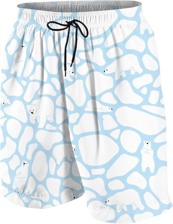 Boys Teens Swim Trunks Polar Bear Camouflage Cow Skin Scarf Quick Dry Beach Board Swim Shorts 7-18T
