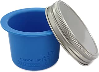 Divider Cup for Wide Mouth Mason Jars - For Salads, Dips, and Snacks (Bright Blue)