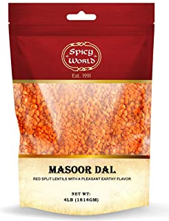 Spicy World Masoor Dal 4 Pound Bag - Split Red Lentils - All Natural, Pure