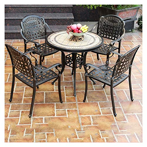 DYYD Outdoor Bistro Set Bistro Table Set, Outdoor Patio Set 5 Piece Table And Chairs Garden Furniture Sets