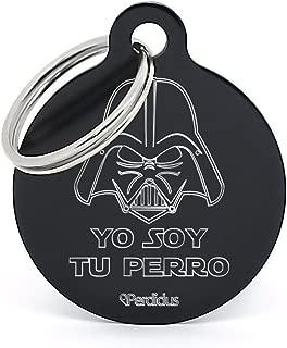 Placa Identificativa para Perro 'Yo Soy tu Perro', Grabado del Nombre y Teléfonos, Negro
