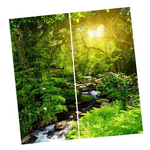 B Blesiya 2er-Set Verdunkelungsvorhang Verdunkelung Vorhang Gardinen Kräuselband Dekoration - Sonnenschein Wald
