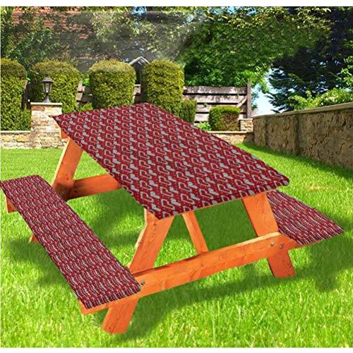 LEWIS FRANKLIN - Mantel ajustable para mesa de picnic y banco, efecto de punto nostálgico con borde elástico, 28 x 72 pulgadas, juego de 3 piezas para mesa plegable