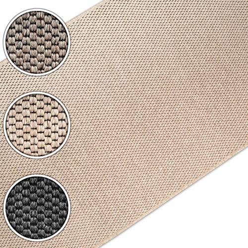 casa pura Teppich Läufer in Sisal Optik | Flachgewebe mit Tiger-Eye-Struktur | ausgezeichnet mit GUT-Siegel | kombinierbar mit Stufenmatten (Beige, 66x150 cm)