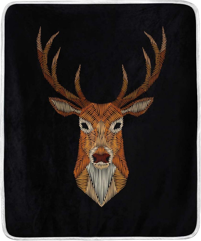 Vantaso Blankets Deer On Black Background Throws Soft Kids Girls Boys 50x60 inch