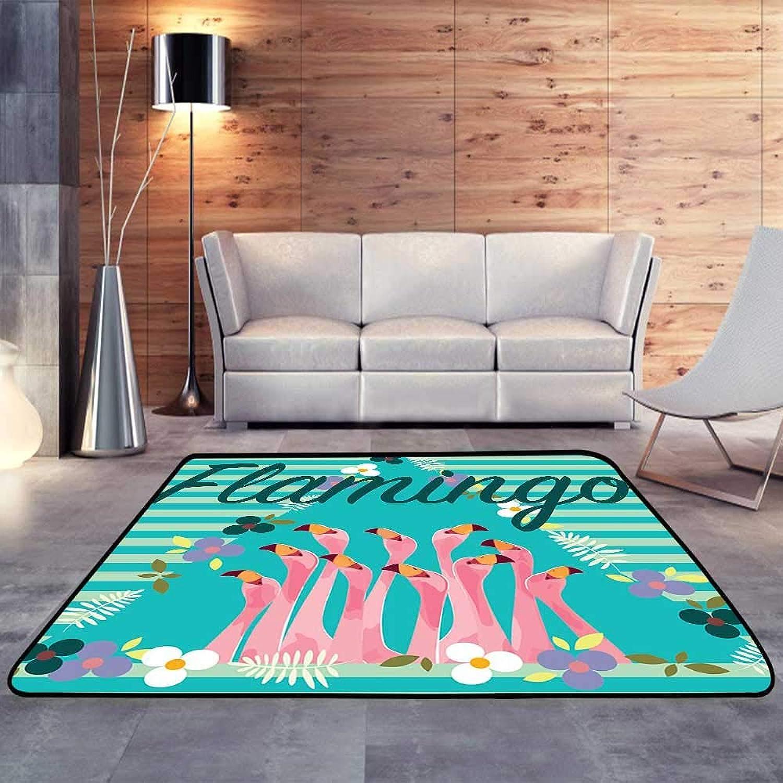 Carpet mat,Flamingo with Tropical Flowers W 47  x L59 Floor Mat Entrance Doormat
