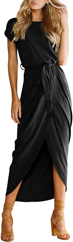 Women's Casual Short Sleeve Slit Party Summer Long Maxi Dress