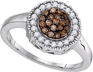 Sonia Jewels 925 Sterling Silver Round Chocolate Brown Diamond Cluster Ring (1/3 Cttw)
