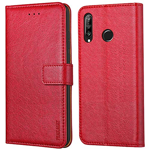 Peakally Handyhülle für Huawei P30 Lite/Huawei P30 Lite New Edition Hülle, Premium Leder Flip Hülle Tasche Schutzhülle Brieftasche Klapphülle [Kartenfächer] [Standfunktion] [Magnet]-Rot