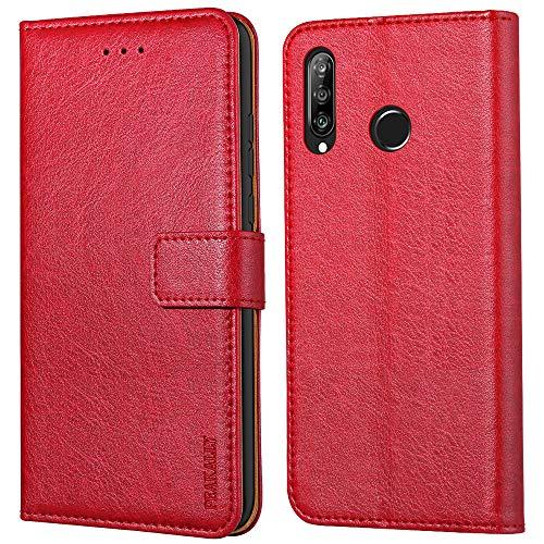 Peakally Huawei P30 Lite Hülle, Premium Leder Tasche Flip Wallet Hülle [Standfunktion] [Kartenfächern] PU-Leder Schutzhülle Brieftasche Handyhülle für Huawei P30 Lite-Rot