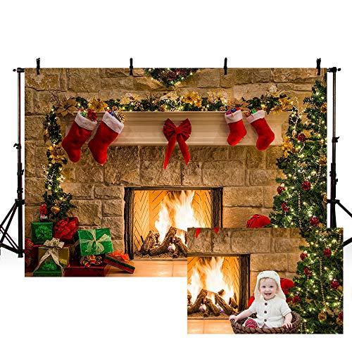 MEHOFOTO - Fondo para estudio fotográfico con diseño de árbol de Navidad, chimenea, regalos, lazo rojo y calcetines. Decoración de fondo para fotografías. 2,2 m x 1,5 m