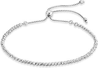 Miabella 925 Sterling Silver Diamond-Cut Adjustable Bolo 2.5mm Bead Bracelet for Women, Handmade Italian Beaded Ball Chain Bracelet, Choice White, Yellow or Rose