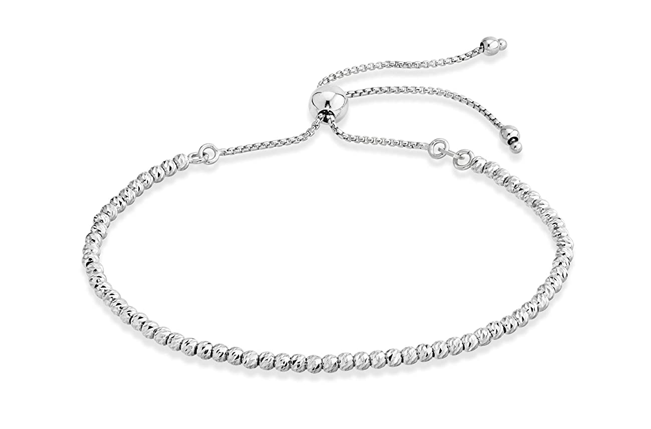MiaBella 925 Sterling Silver Diamond-Cut Adjustable Bolo Bead Bracelet for Women, Handmade Italian Beaded Ball Chain Bracelet, Choice White or Yellow