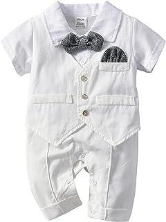 الرضع صبي الاطفال الطفل سهرة البدلة تتفوق بذلة قصيرة الأكمام رومبير شهم القوس التعادل الملابس 0-24 متر (Color : White, Kid...