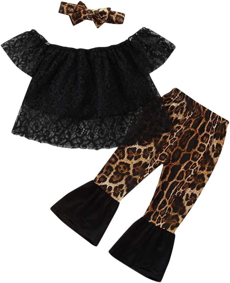Shan-S Toddler Store Baby San Jose Mall Girls Fashion Off Lace Tops+Leopard Shoulder
