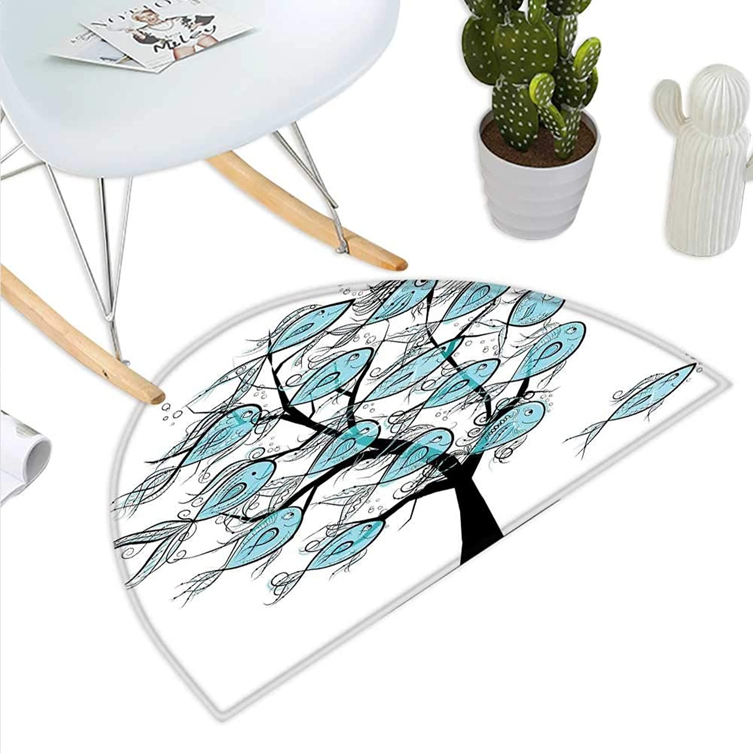 Fish Semicircle Doormat Life of Tree of Funny Fish Figures on The Branches with Different Emojis Print Halfmoon doormats H 35.4  xD 53.1  bluee and Black