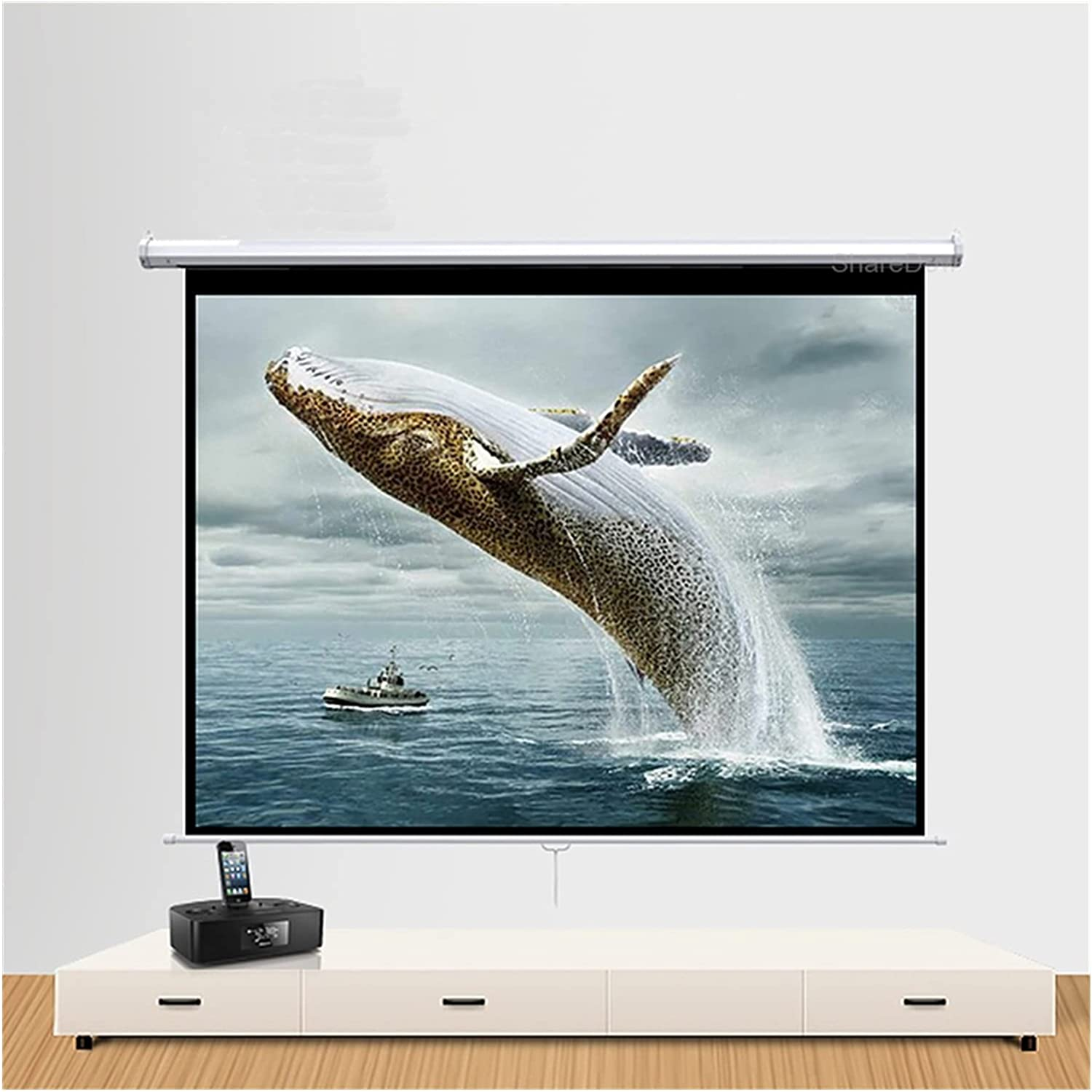 DSFEOIGY Manual Pull Down Projector Screen 60 72 84 100 Inch 16:9 HD Widescreen Retractable Auto-Locking Portable Projection Screen (Size : 60 inch)