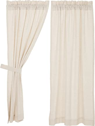 VHC Brands Farmhouse French Country Curtains Simple Life Flax Solid Short Panel Pair, Natural