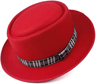 WUNONG-AU Men's and Women's Flat Top Cap Fedora Ms. Fascinator Casual Wild Style British Style Top Hat Fedora Hat Gentleman Daddy Church Hat (Color : Red, Size : 58)