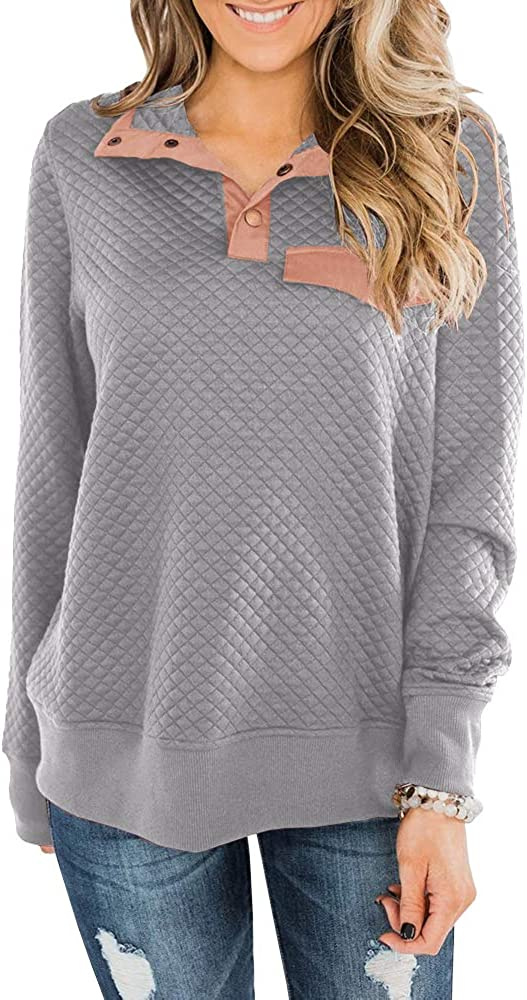 Chuanqi Womens Quilted Sweatshirts Casual Long Sleeve Outdoor Stand Collar Snap Pullover Tops