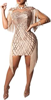 Sexy Bodycon Mini Dress - Women Sequins Tassels Mock Neck Party Club Pencil Dresses