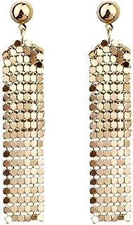 Sequin Long Tassel Drop Dangle Earrings Curtain Fringe Earrings Disc Bar Club Jewelry for Women Girls