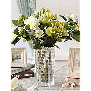 HUAHUA Artificial Flowers, Fashion Bouquets,17″ H Classic Gardenia in Glass Vase Arrangement