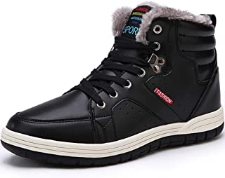 Mens Snow Boots Waterproof Winter Boots High Top Sneaker Outdoor Non-Slip Snow Shoes Fur Lining