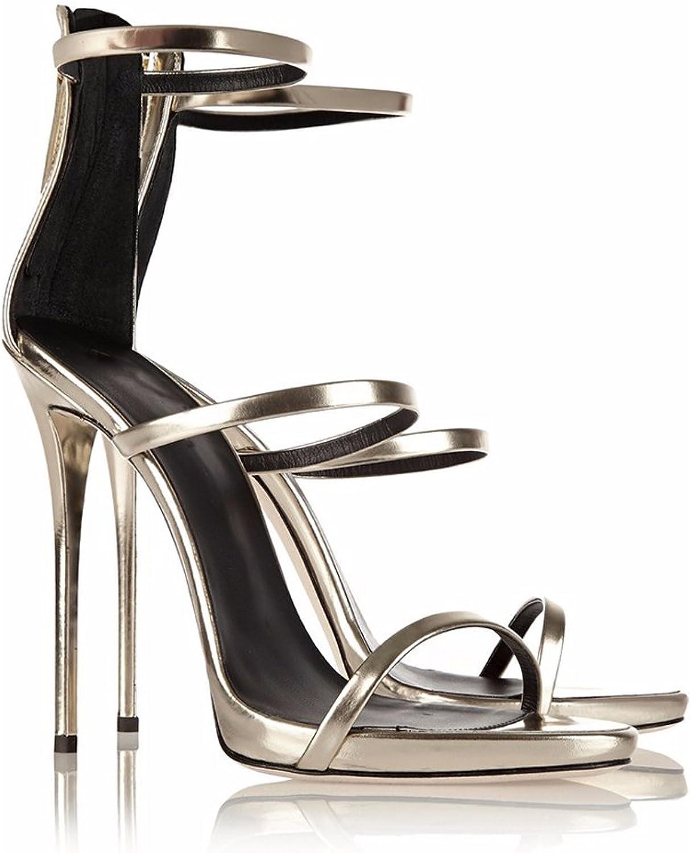 AIWEIYi Womens Open Toe Stilettos High Heel Ankle Strap Dress Sandal gold
