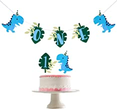 Dinosaur ONE High Chair Banner and Dinosaur Cake Topper- First Birthday Party Decorations,Photo Prop