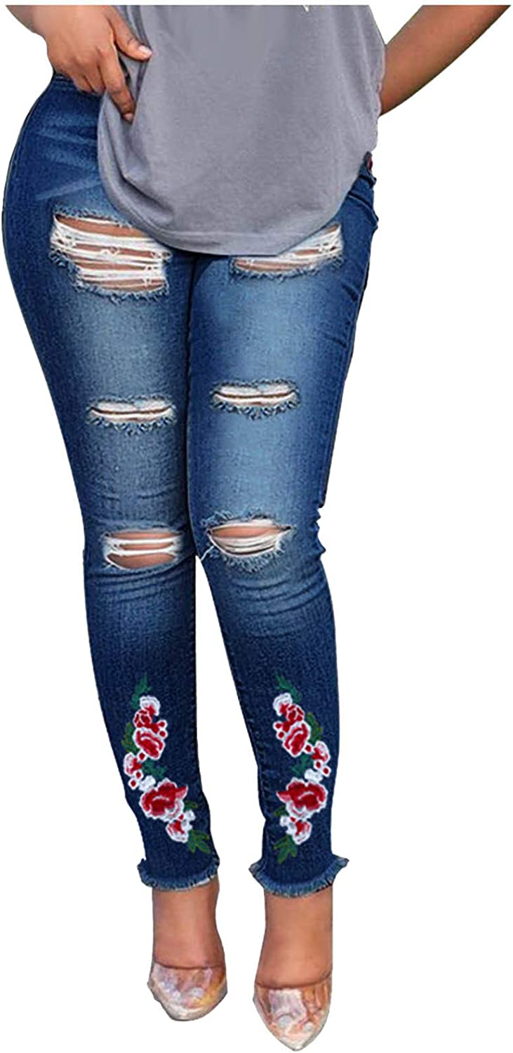 FUNEY Jeans for Women Plus Size,Cat Paw Print Ripped Hole Skinny Stretch Solid Color Denim Regular Pants Trousers