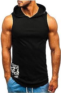 Ackful Men Fitness Muscle Print Sleeveless Hooded Bodybuilding Tight-Drying Vest Tops