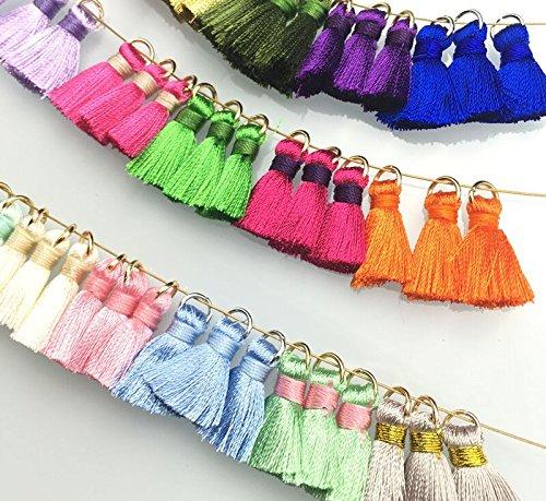 Nappe ciondolo multicolore fatto a mano lungo seta decorazioni per feste, fai da te per segnalibri, portachiavi, orecchini o abbigliamento e feste