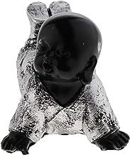 Prettyia Small Monks Figurine Statue Cute Little Monks Wealth Lucky Figurine Buddha - Silver, as described