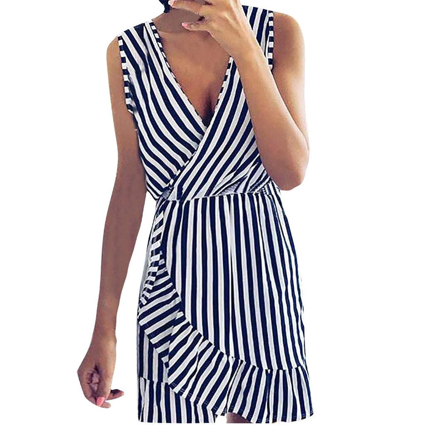 Oufenli?Women Sleeveless Dresses Ladies Summer V Neck Mini Dress Stripe Printed Irregular Hem Sundress for Evening Party