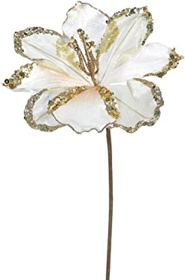 Pack of 3 Rose Gold Amaryllis Flowers with Glitter and Sequins Artificial Floral Stems 20