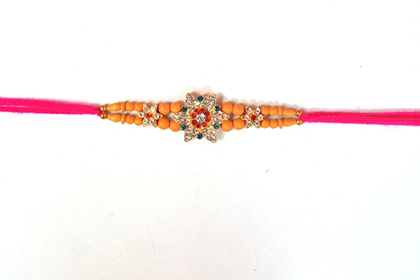 PRC Handmade Rakhi with Big Star Flower Daimond Design and Pink Thread Design, Raksha bandhan Rakhi for Brother