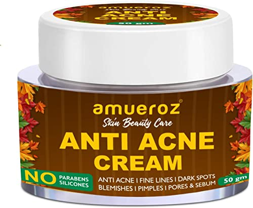 Amueroz Anti Acne Cream Reduce Pigmentation Blemish Pimples Dark Spots Scars For Dry oily Normal Skin Tea Tree Oil Chamomile Licorice Calendula Rosemary Green tea 50gm