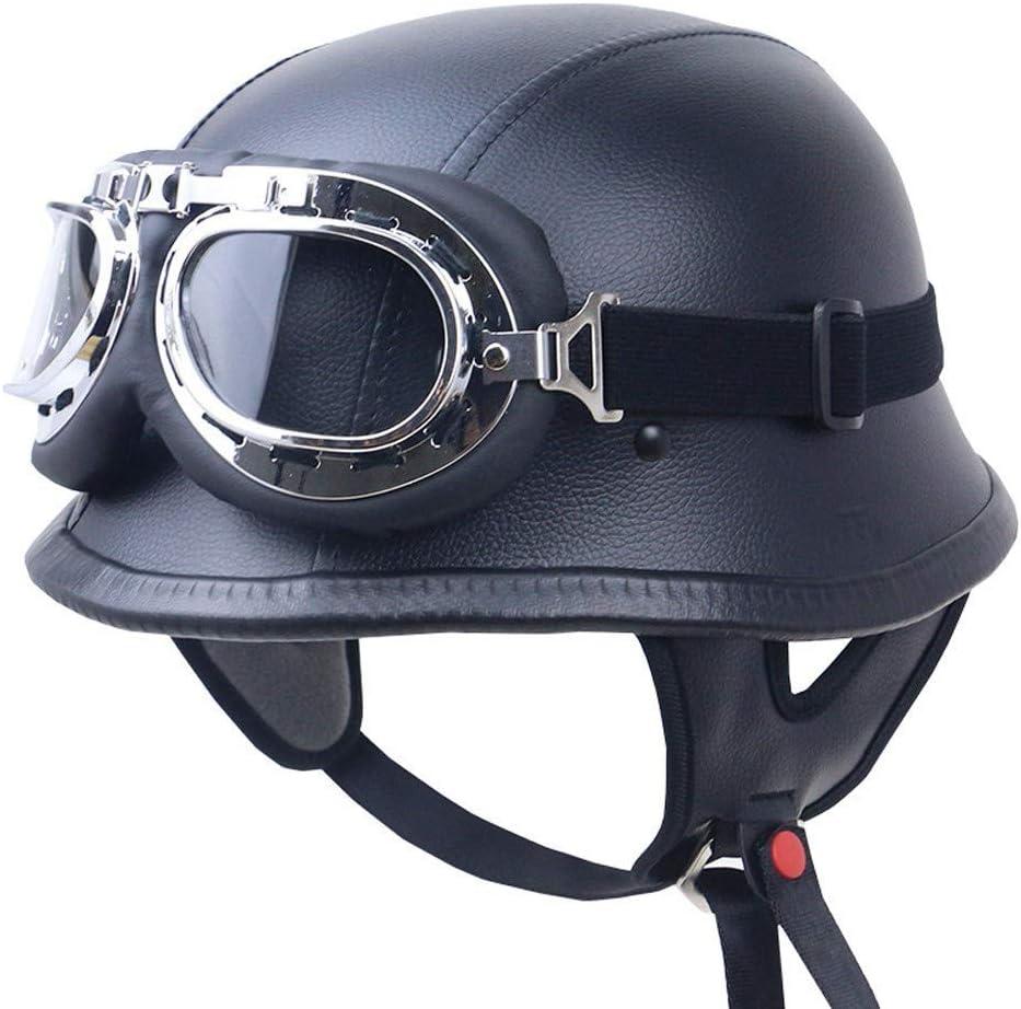 Motorradhelm Halbschale Stahlhelm Oldtimer Helm Oldtimer Helm Brille Im Wehrmacht Style Sport Freizeit