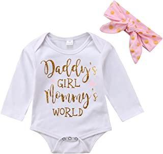 Newborn Infant Baby Girl Daddy's Girl Mommy's World Valentine Bodysuit Romper with Headband Outfit