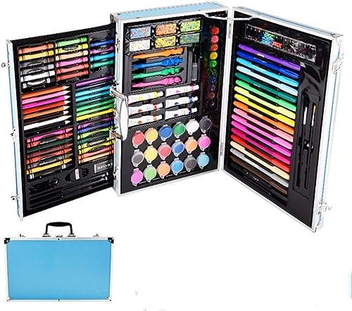 szegwh Kinder Aquarell Stift Kinder maßen Künstler Set Farbe Bleistift Set  Pinsel Zeichenwerkzeug Geschenk, 123pc Aluminium Box Schreibwaren Himmelblau