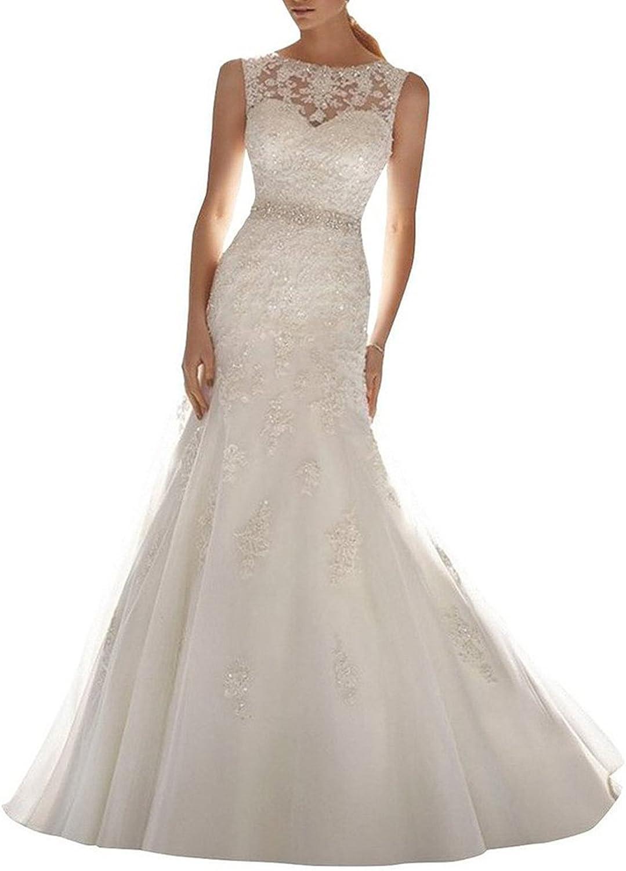 Rjer Women's Embroidery Lace Mermaid Deep VBack Wedding Dresses