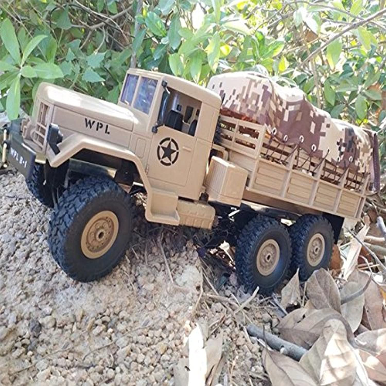 Ocamo 2.4G Remote Control Military Truck 6 Wheel Drive OffRoad RC Car Model Climbing Car Gift Toy Desert Yellow car with color Box