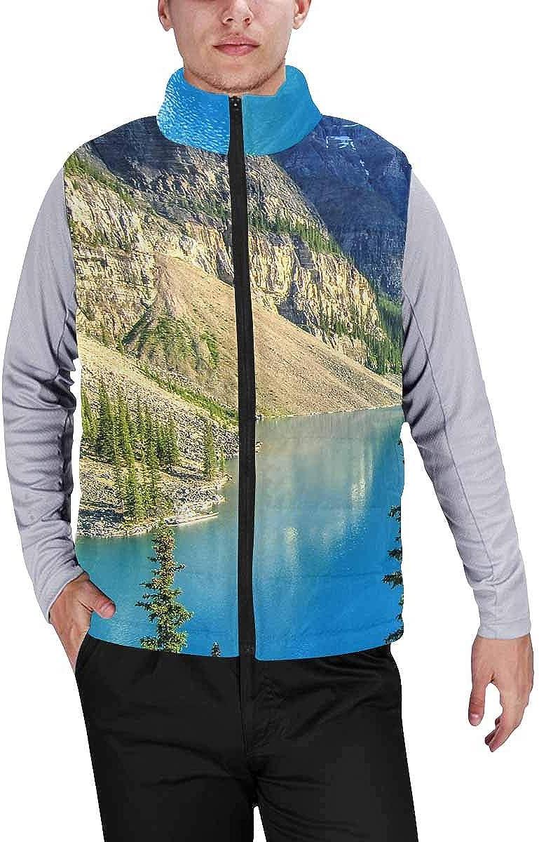 InterestPrint Men's Lightweight Outwear Vest for Hiking, Fishing Landscape Canadian Rockies Mountain Moraine Lake M